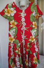 "Hawaiian MuuMuu   Small   Red White ""Aloha Hut"" Hawaii MuMu Dress"