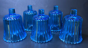 Vintage Glass Votive Peg Candle Holders Swirl Pattern SCONCE Blue Straight Cut 5