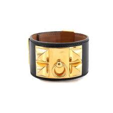 HERMES Collier de Chien Bangle Box Calf Black Vintage Accessory 90121166