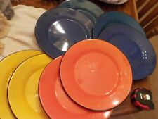 Lot Of 8 Assorted Colors Metal Dinner Plates
