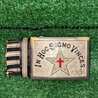 Vintage In Hoc Signo Vinces Knights Templar Masonic Silver Belt Buckle Freemason