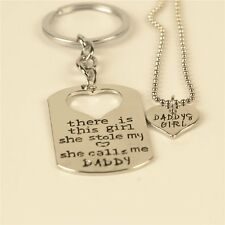 Silver Plt Twin Keychain & Necklace Daddy Daughter Dad Father Men Girls Gifts