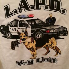 LAPD Los Angeles Police K9 Dog Police officer shirt T Size XXL White