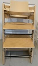 Stokke Tripp Trapp Light Wood High Chair, Back Plate & Wooden Curved Bar Used
