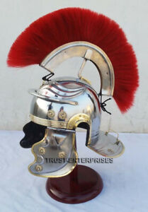 Medieval Roman Centurion Helmet Halloween Costume Red Plume With Wooden Stand
