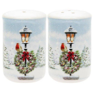 Christmas Robins Fine China Salt and Pepper Set Gift Boxed