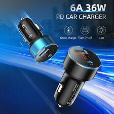 36W Dual USB Type C Car Charger Socket Adapter Quick Charge 4.0 PD Fast Charging