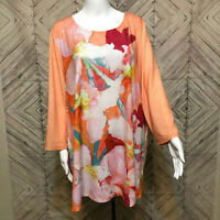 Zenergy By Chico's Orange Long Sleeve Floral Print Stretch Tunic Dress Womens XL