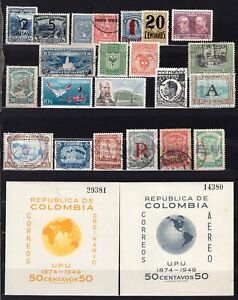 Colombia Older Selection 27 Stamps Most Better CV$150