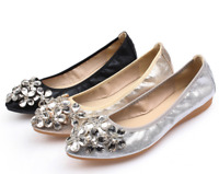 Women Pointed Toe Slip On Rhinestone Crystal Flats Wedding Ballet Loafer Shoes