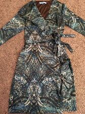 Antonio Melani Gorgeous Green Brown L/S Lined Wrap Dress Sz 2 Gently Used