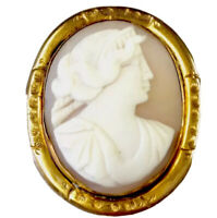 Antique Gold Tone / Plated Carved Shell Cameo Brooch GIFT BOXED