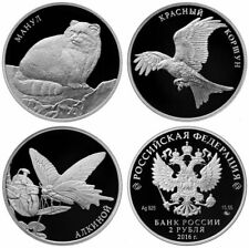 RUSSIA 3X2 RUBLE 2016 SERIES: RED BOOK - MANUL, RED KITE, ALKINA.