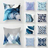 Teal Blue Geometric Cushion Cover 18 inch / 45 cm Car Waist Throw Pillow Cases