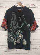 New Sapphire Lounge Tribal Chopper Black Button Front Shirt Short Sleeve Men M