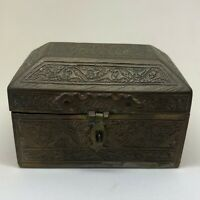 "Vintage Brass Trunk Trinket Box Metal Ornate Asian Decor 2.75"" Jewelry Small"
