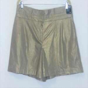 NY and Co 7th Ave Design Studio Womens Bermuda Shorts 14 Linen Blend Metallic