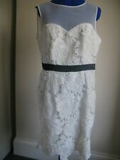 H DEFINITIONS CROCHET LACE PENCIL DRESS WHITE SPECIAL OCCASION UK 16 FLOWERS