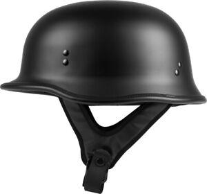 NEW HIGHWAY 21  Half Helmet FLAT Black ADULT CRUISER CHOPPER BOBBER HARLEY STYLE