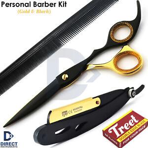 Barber Salon Kit Men Personal Grooming Hair Cutting Scissor Shaving Razor & Comb