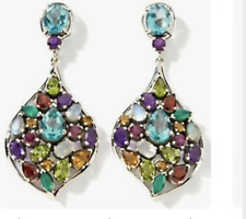 NICKY BUTLER RAJ COLLECTION 14.9 ct Cluster Drop Multi-gemstone Earrings Unique
