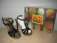 Falchi Shoes Size 7 M Womens New Natalie Black Gold T Strap Platform Heels NWB