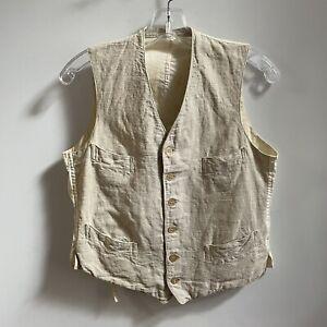 Vintage Antique Linen Vest Waist Coat Natural Early 1900s