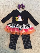 Baby Girl Size 12 Month Halloween Outfit With Matching Hairbow