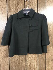 French Connection Black 3/4 Sleeved Women's Coat Jacket Size 8 EUC