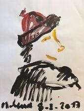 ART Brut  signature illisible ? Gouache 64,5 cm x 50 cm       e.