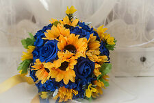 Brides Bouquet in  ROYAL Blue Roses and Sunflowers Tied with Yellow Ribbon