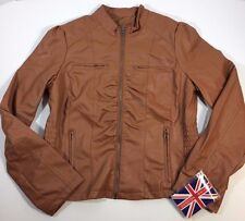 NEW Miss London Brown Fitted Jacket, Snakeskin Textured Faux Leather Lrg (L11-14