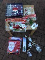 Christmas Xmas decorations Job Lot Stickers / Sack / 2 Deer / Box Decoration
