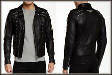 NWT Diesel L-GORDIAS Mens LEATHER Studded Bomber Moto BLACK Jacket MEDIUM $998