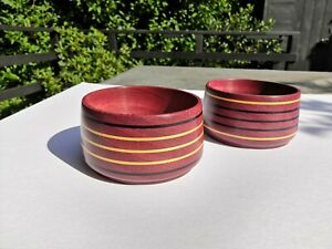 Bespoke matching pair of Purpleheart hardwood Bowls with multiple boxwood inlays