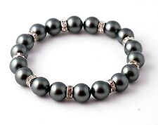 Pretty genuine 10 mm South Sea black shell pearl bracelet 7.5 inches AAA
