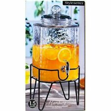 Beverage Dispenser Glass Jar Metal Stand 1.5 Gal Cold Drink Juice Tea Water Jar