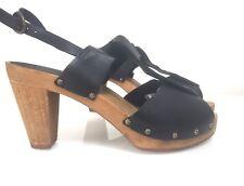 Sanita Danish Clog Sandals Black Leather Block Heel 39.5 Uk 6.5 7 vintage