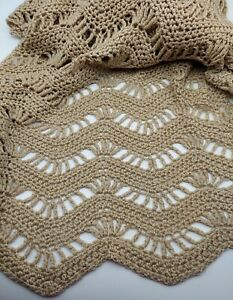 """VTG Hand Knit Crocheted Afghan Throw Blanket Beige 60x57"""" Open Weave EXCELLENT"""