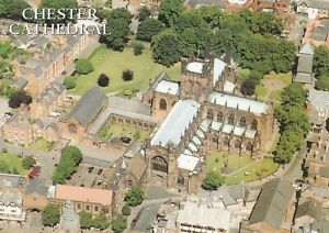 Chester Cathedral from the air.  Salmon postcard in VGC. Unwritten/Unposted