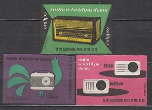 POLAND 1962 Matchbox Label - Cat.Z#243/45III  Radio in every home (II)