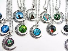 US Seller-20 pieces wholesale cabochon moon necklaces jewelry bulk lot jewelry
