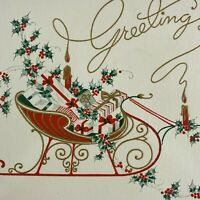 Vintage Mid Century Christmas Greeting Card Red Sleigh Filled With Gifts Candles