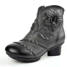 Vintage Women's  Zipper Ankle Leather Boots Floral Pattern Handmade Shoes Casual