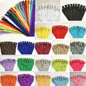 50pcs 5- 39.5 Inch Nylon Coil Zippers Bulk for Sewing Crafts mix 20 color~@