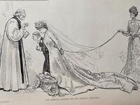 1900's Vintage Print War Hero Sketch Bride Marriage Charles Gibson ANTIQUE PAPER