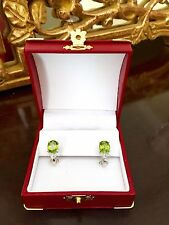 Oval Peridot & Diamond Pierced Earrings w Safety Clip White Gold Gemstone