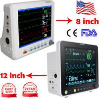 "Medical 12/8"" Vital Signs Patient Monitor 6 Parameter ECG NIBP RESP TEMP SPO2 PR"