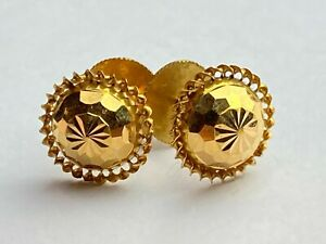 22ct .916 Yellow Circular Patterned Screw in Earrings Ship Worldwide