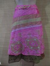 "New VINTAGE Silk sari wrap SKIRT FREESIZE (8-16 best) 26"" Knee/calf length (#99)"